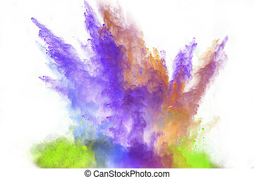 launched colorful powder over white - Launched colorful...