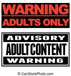 adult - Two sign boards only for adults
