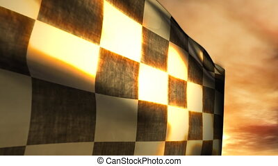 1115 Checkered Race Flag and Sunset Blowing in Wind - Great...