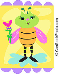 Cute Decorative Bee with Flower