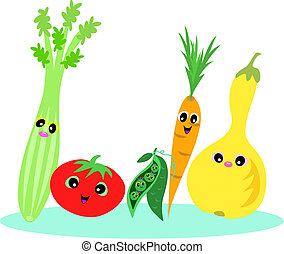 Healthy Foods - Here is a happy group of healthy vegetable...