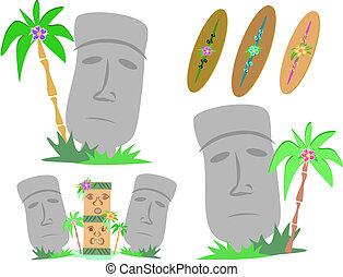 Easter Island Moai Statues - Here are large stone Moai...