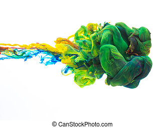 Colorful ink in water, abstract shape background