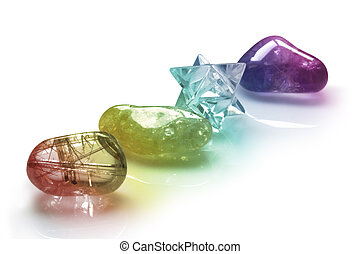 Rainbow Colored Healing Crystals - Four rainbow colored...