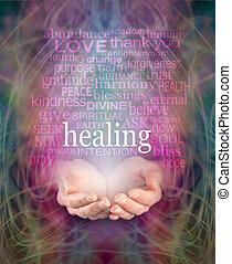 recibiendo, curación,