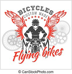 Designs with Flying Bicycle for fashion. Vector...