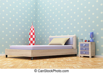 blue room - 3d rendering of a beautiful blue room with a...