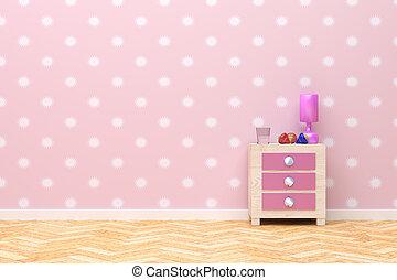 pink room - 3d rendering of a beautiful children nightstand