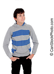 Casual young teenager isolated on a white background