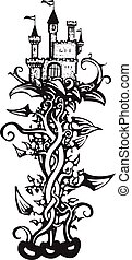 Magic Beanstalk - woodcut style image of a the fairy tale...