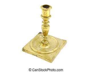 Old bronze candlestick holder on white background