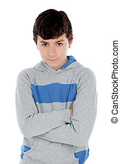 Angry teenager boy isolated on a white background