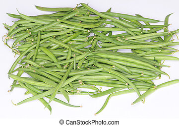 String beans - A pile of raw string beans, isolated on white