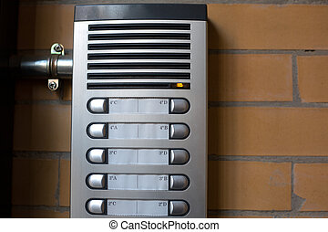 Intercom system at the entrance of a block of flats over...