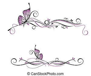 Decorative vector ornament - Vector floral ornament with...