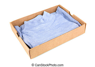 Clothes in open container isolated on white background