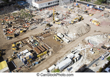 Aerial View of Construction Site with Extreme Bokeh - Aerial...