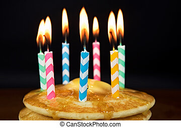 birthday candles on pancakes - Chevron birthday candles on a...