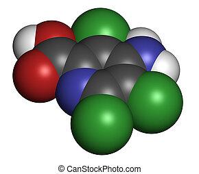 picloram, molécula, wi, Átomos, esferas, representado,...