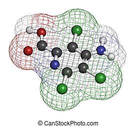 Picloram, herbicida, molecule., Átomos, ser,...