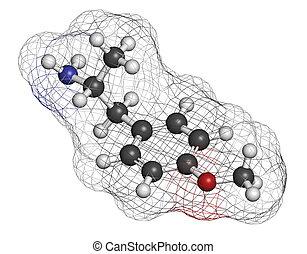 p-methoxyamphetamine (PMA) hallucinogenic drug molecule....