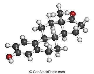 Estrone (oestrone) human estrogen hormone molecule. Atoms...