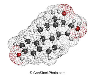 Estriol oestriol human estrogen hormone molecule Atoms are...