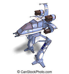 futuristic transforming scifi robot and spaceship - 3D...