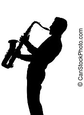 Saxophone player silhouette isolated on white background