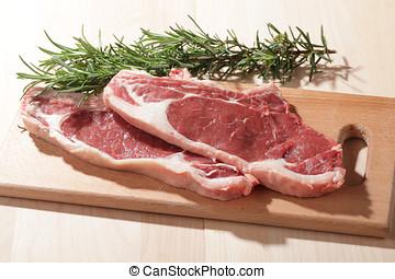 Raw rib steaks