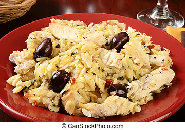 Greek style chicken and orzo - A bowl of chicken with orzo...