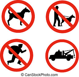 No dogs,burglars and towing sign - Illustration of road...