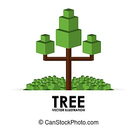pixel tree design, vector illustration eps10 graphic