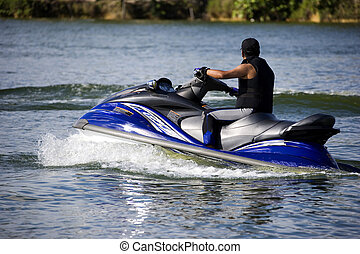 Jet Skiing - Image of a jet ski enthusiast in action