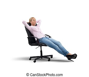 Businesswoman relax and think - Businesswoman relaxes...