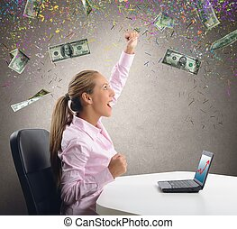 Businesswoman exults for her money - Businesswoman exults...