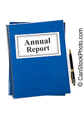 Annual Report - Business Annual Report and pen with white...
