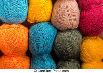 the yarn - bright background of yarns of different colors