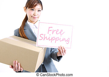 Free shipping - Businesswoman showing a card with word Free...