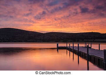 Dock Sunrise - sunrise at Watson Lake, Prescott