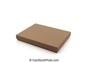 Brown paper box. - Brown paper box on white background with...