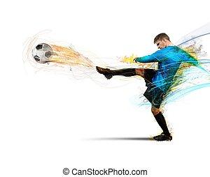 Football fire - A football player throws fireballs at...