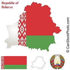 Belarus Flag - Flag and national coat of arms of the...