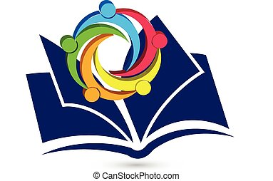 Teamwork book logo vector - Teamwork happy students with...