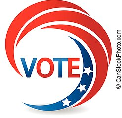 Vote America USA flag logo - Vote with swooshed design of...