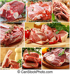 collage of different raw meat - collage of different kinds...