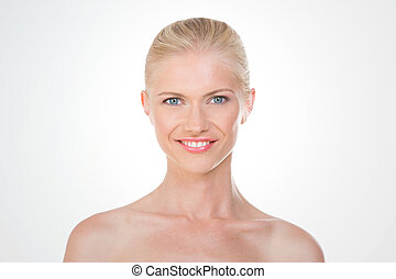 nordic girl smiling - blonde woman shows a big bright smile