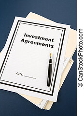 Investment Agreement and pen, business concept