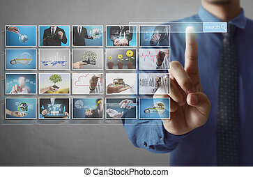 Digital photo album - businessmen and Reaching images...