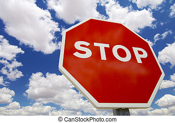 stop signal with cloud sky